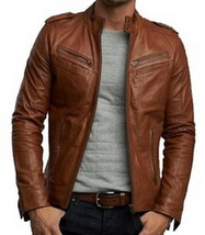 Handmade New Men Stylish Cool Design Brown Leather Jacket, Men Leather j... - $179.00
