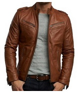 Handmade New Men Stylish Cool Design Brown Leather Jacket, Men Leather j... - $179.00