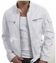 Handmade New Men Stylish Unique White Leather Jacket, Men Leather jacket - $159.00
