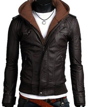 Handmade New Men Stylish Hooded with Brown Leather Jacket, Leather jacket - $159.00