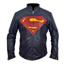 Handmade New Men Super Man Style Costume Blue Leather Jacket, Men Leather jacket - $189.00