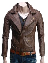 Handmade New Men Stylish Fine Stitching Brown Leather Jacket, Men Leathe... - $159.00