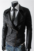 Handmade New Men Stylish Large Collar Black Leather Jacket, Men Leather ... - $159.00