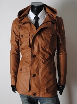 Handmade New Men Stylish Chic Brown Long Leather Jacket, Men Leather jacket - $199.00