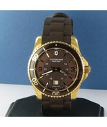 Victorinox Swiss Army 241608 Maverick GS Gold Brown Rubber Mens Watch Ne... - $367.49