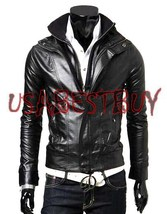 Handmade New Men Stylish Plain Simple Black Leather Jacket, Men Leather ... - $159.00