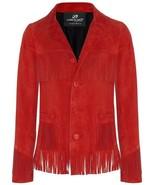 QASTAN WOMEN'S NEW TRENDY RED WESTERN FRINGES SUEDE LEATHER JACKET WWJ106 - $149.00