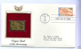 Home Treasure Stamp Cover USA United States Oregon Trail 150th Anniversary Gold - $18.99