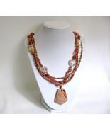 Peach Tones Gemstone Necklaces RKMixables Coppe... - $60.00
