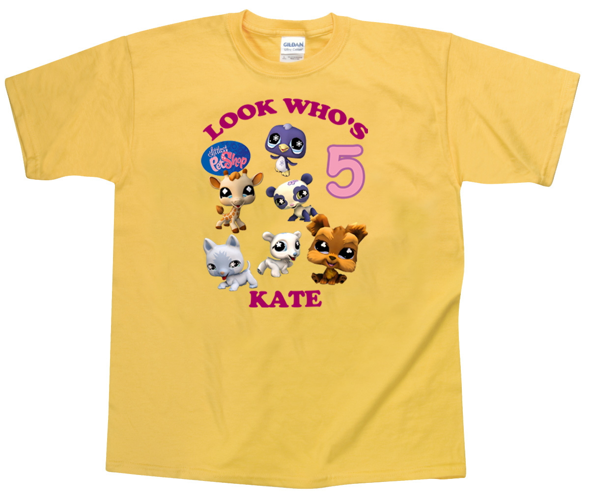 Littlest pet shop personalized yellow birthday shirt t for Custom pet t shirts