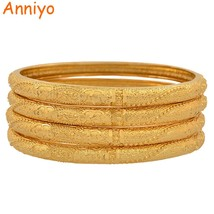 4PCS Gold Color Dubai Bangle for Women Fashion Arab Bracelet Jewelry Afr... - $36.74