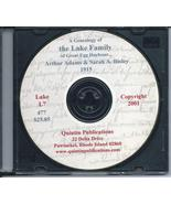 CD: A Genealogy Of The Lake Family Of Great Egg Harbor, In Old Glouceste... - $5.59