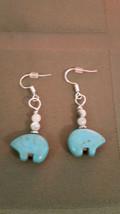 Earrings,  Zuni Style Howlite Bear earwire 925 Sliver Healing Natural St... - $9.89