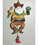 Western Cowboy Santa Movable Christmas Ornament - $7.98