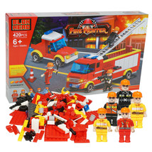 Fire Fighter Interlocking Block Fire Truck Car and Figure Play Set 420 P... - $17.96