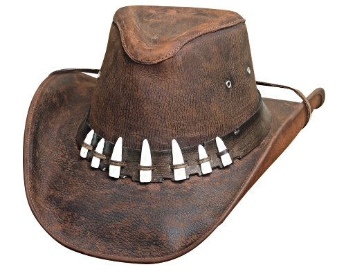 Primary image for Bullhide Spiffy Leather Cowboy Hat Aussie Crown Faux Croc Teeth Chocolate Brown