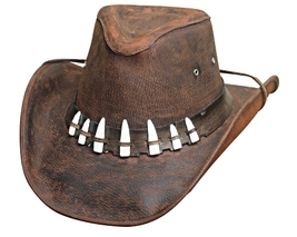 Bullhide Spiffy Leather Cowboy Hat Aussie Crown Faux Croc Teeth Chocolat... - $82.00