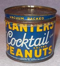 Vintage 1930s Planters Cocktail Peanuts Tin 8oz Mr Peanut Logo - $9.95