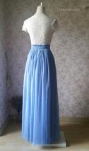 DUSTY BLUE Tulle Maxi Skirt Full Length Blue Wedding Bridesmaid Skirt Plus Size image 5