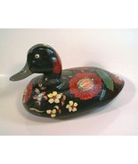 Old wooden real Duck Decoy hand-painted Tole Batea Folk Art  flowers decor  - $38.00