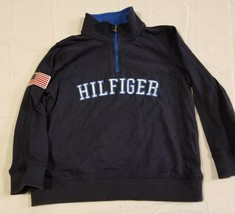 Tommy Hilfiger Youth Size 6 Spell Out Sweater Blue Half Zip L/S Pullover Flag - $9.59