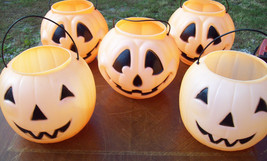 5 General Foam Plastic Blow Mold Pumpkin Jack O Lantern Candy Buckets pu... - $35.00