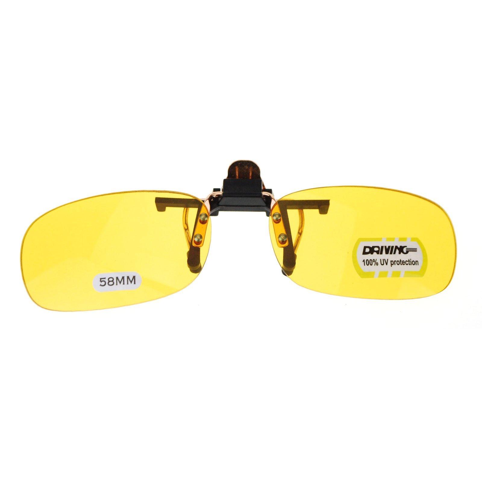Unisex Retro 34mm x 58mm Clip On Night Driving Yellow Lens Sunglasses Copper