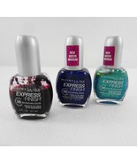 Maybelline NY Express Finish Lot 3 Nail Polish Denim Dash Blue + Green +... - $23.03