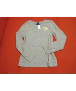 GAP Kids Girls Tee Shirt 6 7 Grey Yellow Embellished Long Sleeve Crew Ne... - $14.84