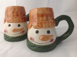 2 Large WCL Snowman Mugs for Coffee Hot Cocoa - $14.95