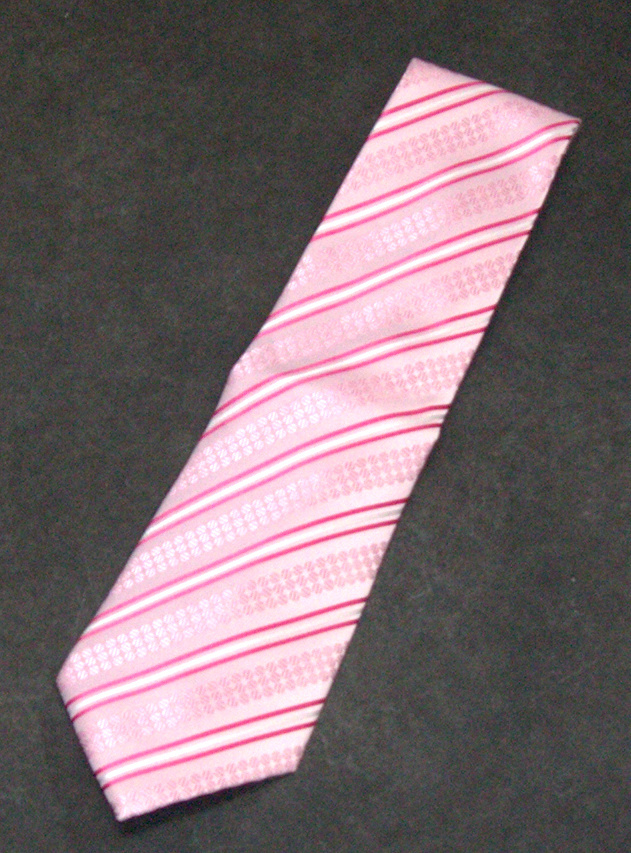 ALEX & JESSIE Men's Pink White Diagonal Striped Floral Neck Tie NEW NWOT Alex & Jessie