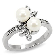 Stainless Steel White Synthetic Pearl Bridal Ring, High Polished, No Pla... - $25.99