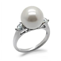 Stainless Steel 12 MM White Synthetic Pearl Bridal Wedding Ring, High Po... - $28.59