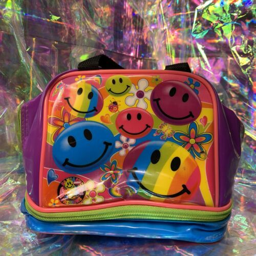 VINTAGE GUC Lisa Frank Smiley Face Smilies Insulated Lunch Tote Bag Mini Retro