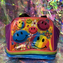 VINTAGE GUC Lisa Frank Smiley Face Smilies Insulated Lunch Tote Bag Mini Retro image 1