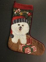 Finished White Dog Christmas Needlepoint Kit Stocking HandMade Vintage - $19.60
