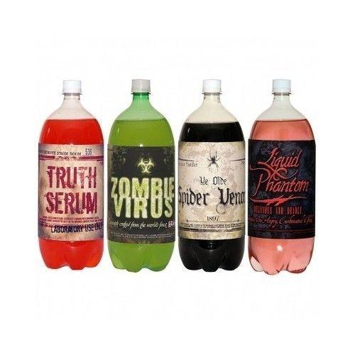 Halloween Prop Label Sticker Soda Pop Drink Venom Decor Arts Craft Party Bottle