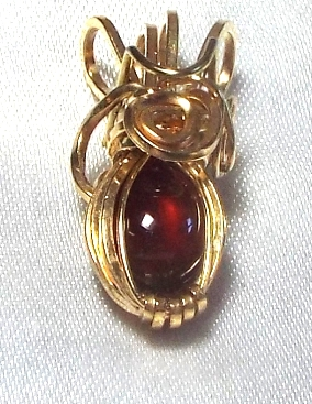Jewelry By Two Gems (Wp27) 14K Gold Filled Wire Wrap Pendant w Garnet