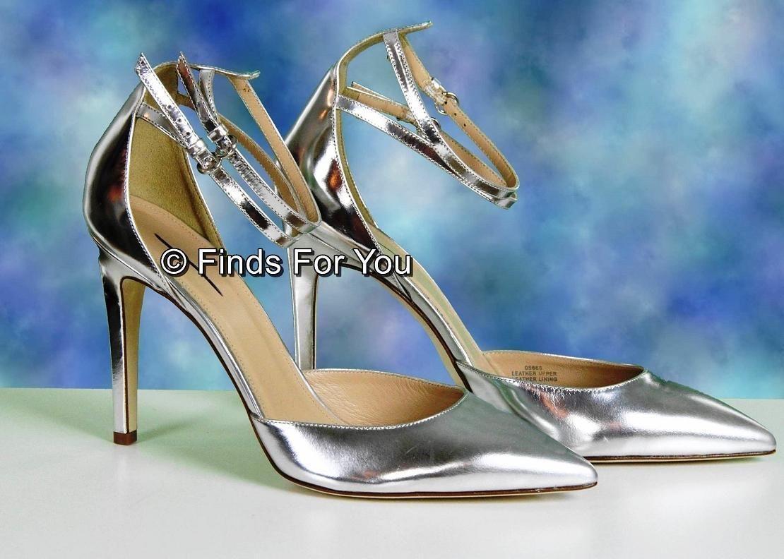J Crew Strappy Mirror Metallic Pumps 8.5 Medium 05666 B Womens Shoes Heels