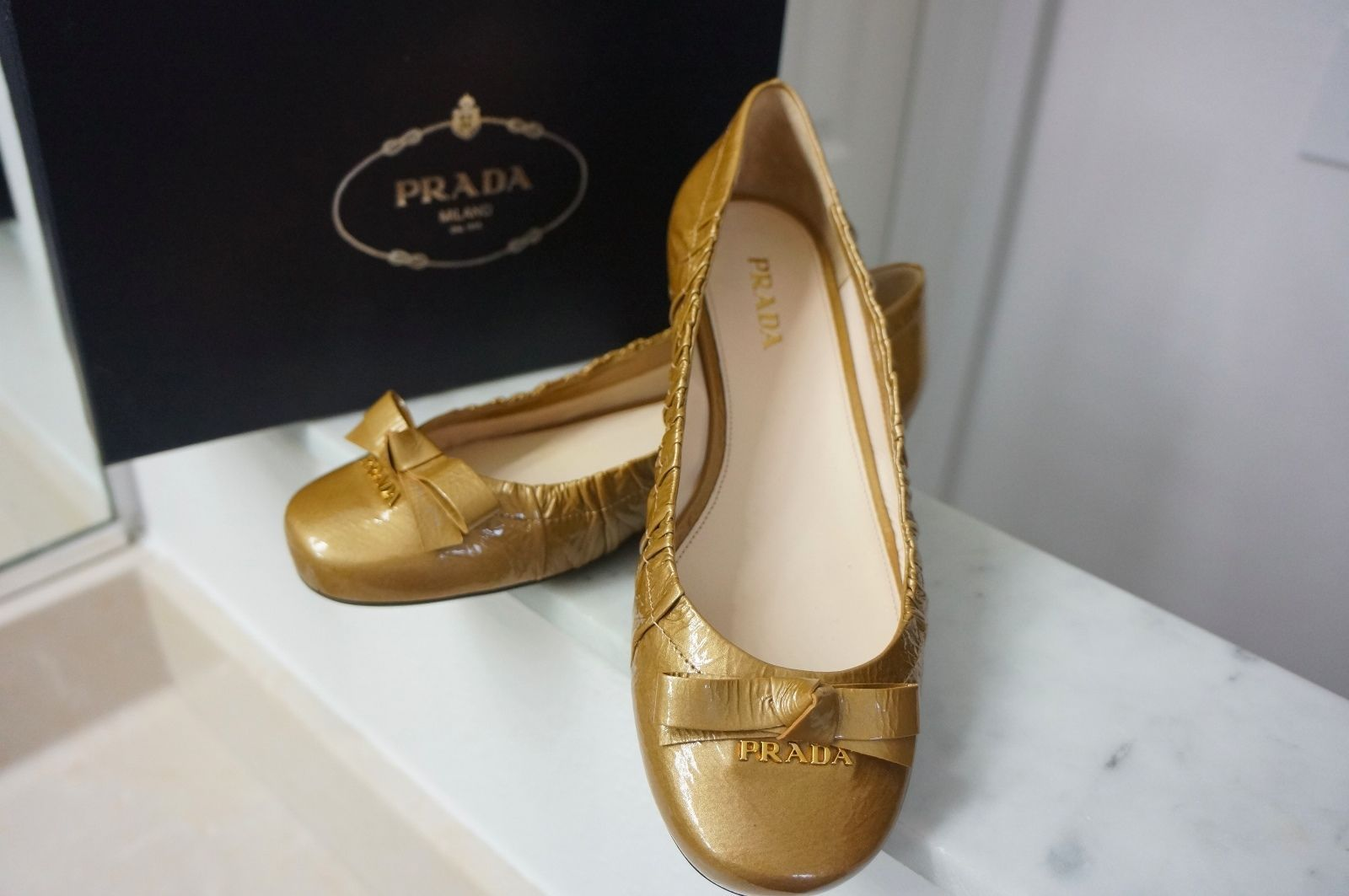 7911d72c261 NEW Prada Gold Glitter Patent Leather Ballet and 50 similar items. 57