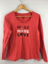 Life Is Good Sleep Top M Medium Womens Red Christmas Make More Love TT41 - $21.78