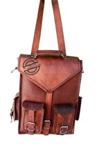 "16"" men's womens Genuine Leather big large backpack rucksack laptop Coll... - $41.14"
