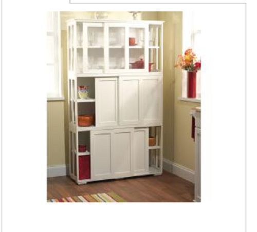 Kitchen Storage Cabinets With Glass Doors: Kitchen Storage Cabinet Pantry Stackable White Sliding