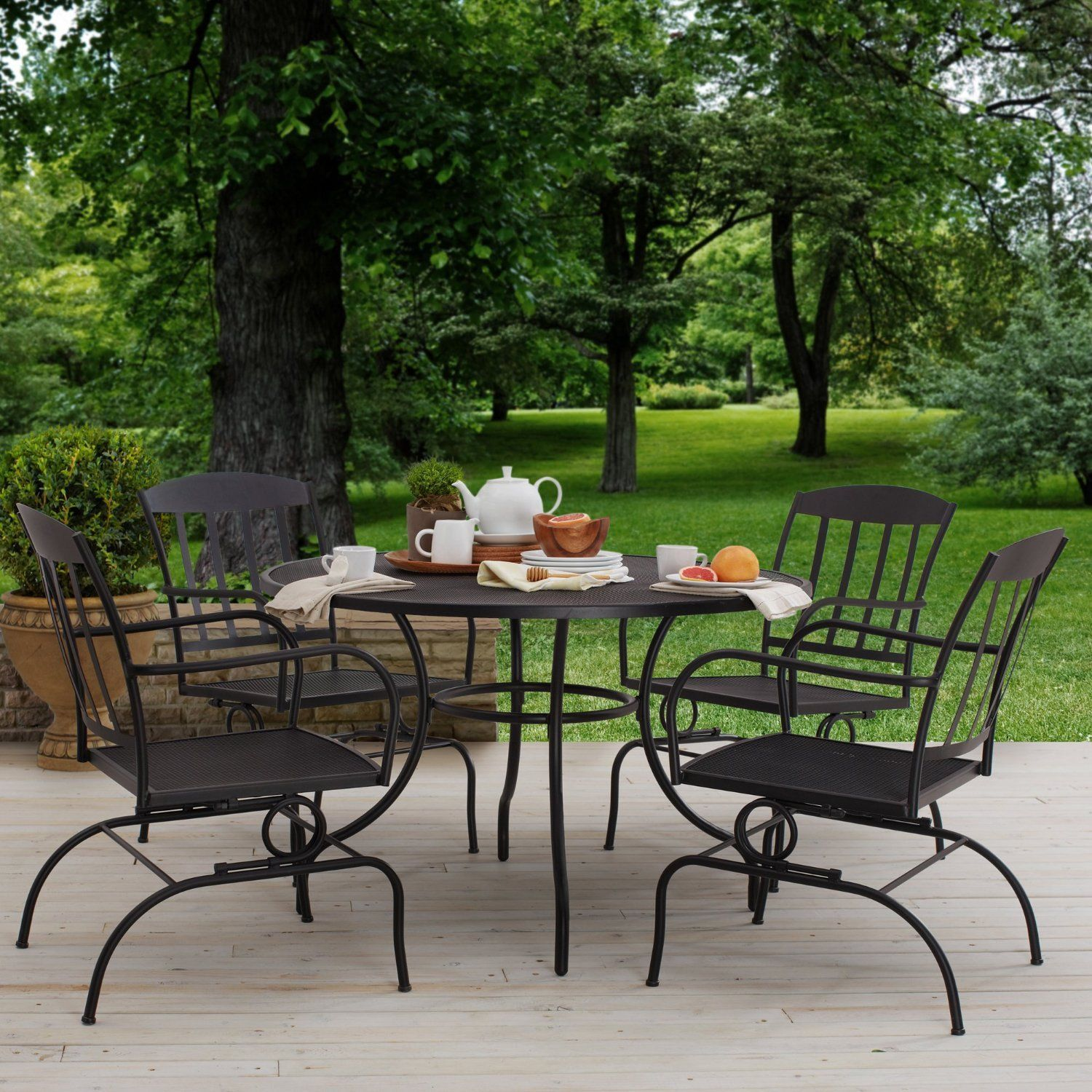 patio bistro table outdoor dining furniture deck porch backyard lawn