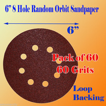 """60 X 60G 60 Grit # 6""""x 8 Hole Sanding Disc Sandpaper Velcro Backing Sand... - $17.63"""