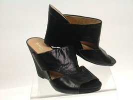 Naturalizer 8W Wedge Slide Sandals Black Leather Open Toe Cut Out Bankston - $42.48