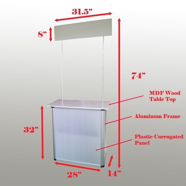 Promotion counter table kiosk aluminum frame display for Runescape xp table 1 99