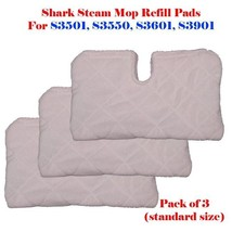 3 Standard Size Steam Mop Replacement Pocket Pads For Shark S3501 S3601 ... - $11.71