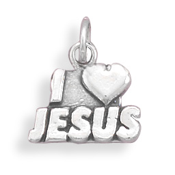 73708 oxidized i love jesus charm