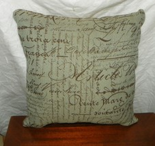 Light Blue Brown French Writing Print Decorative Throw Pillow - $29.65